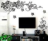 #9: PRINT INDIA ENTERPRISE Black Flower Vine Wall Sticker PVC Vinyl Wall Sticker