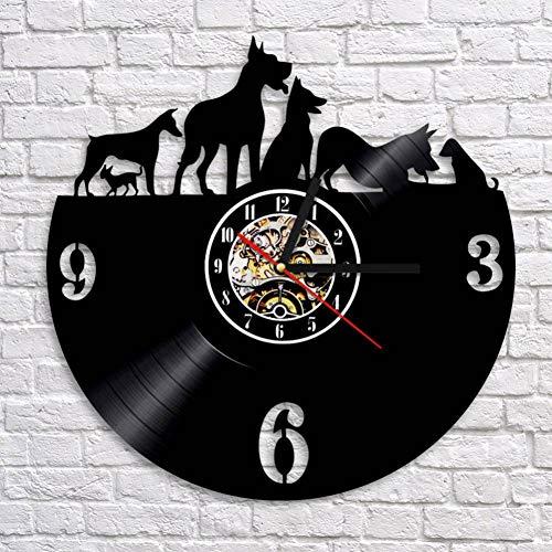 TTZSE Welpen Hunde Vinyl Uhr Haustier Wanduhr Tiere Schallplatte Wanduhr Kunst dekorative handgefertigte Uhren Geschenk für Haustier Liebhaber -