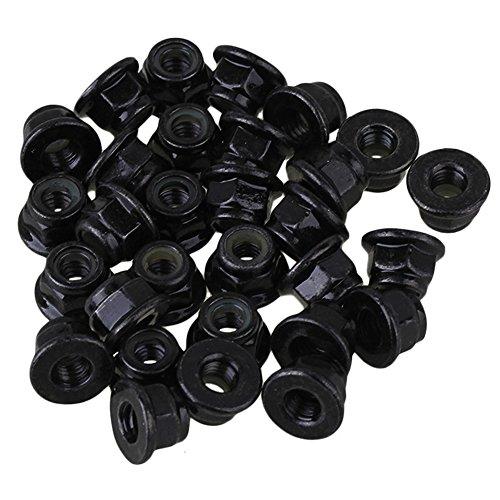Verzinktem KohlenstoffstahlSechskantmuttern mit Flansch und Sperrverzahnung Pack von 30 stück schwarz (m4)