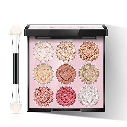 e Nude Make-up Lasting Lidschatten Pulver Anfänger Nicht Halo Lidschatten-Palette 9 Farben Double Head Brush (Halo Party Supplies)