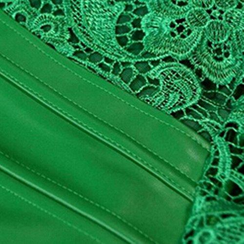Beauty-You Damen Steampunk Korsett Kunstleder korsagenkleid Rock Kostüm Grün