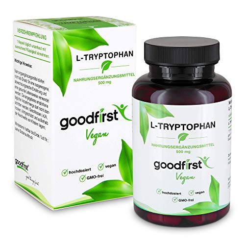 L-Tryptophan 500mg Hochdosiert - 120 vegane Kapseln für 4 Monate Vorrat - Essentielle Aminosäure - Laborgeprüft, Ohne Magnesiumstearat, Vegan & Vegetarisch | Hergestellt in Deutschland -