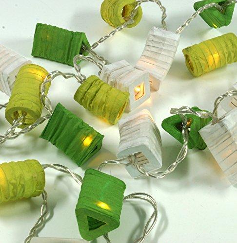 Guru-Shop LED Lichterkette Lampions - Mix/grün, Dekorative Girlande, Partylichterkette