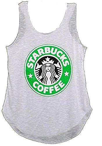 Nouveaux Mesdames Starbucks T-shirt Logo Imprimer Vest Coffee House Graphique Femmes Casual Vest Top Taille 36-42 Blanc
