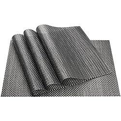 Mantelitos Individuales (4 unidades), vGoodo útiles Mesa Salvamanteles Fácilmente Lavables,Antideslizantes y Resistentes para Decoración de La Casa,45 x 30cm , (Negro)