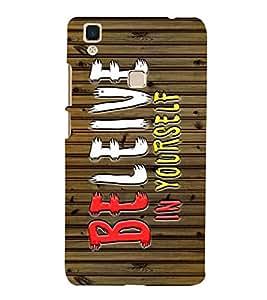 Fabcase self motivation believe in yourself wooden texture Designer Back Case Cover for Vivo V3