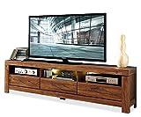 TV-Lowboard Fernsehschrank Fernsehtisch GUNDULA 7 | Braun | Akazie | 200x60x54 cm