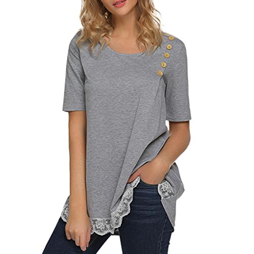 KaloryWee Women Lace Stitching Button Round Neck T-Shirt Short Sleeve Tunic Tops Casual Blouse