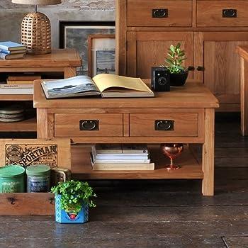 Lyon Petite Oak Coffee Table with Drawer Amazoncouk Kitchen Home