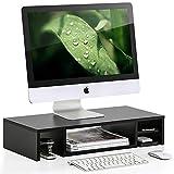 Fitueyes Monitorständer aus Holz platzsparendes Design mit Stauraum schwarz 60x28x12cm DT306001WB