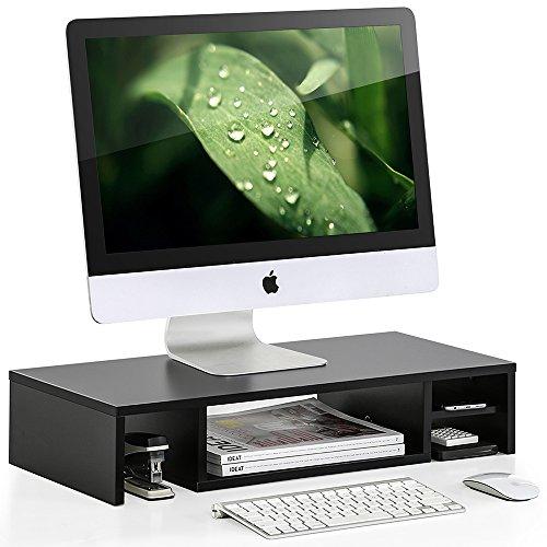 FITUEYES Monitorständer aus Holz platzsparendes Design mit Stauraum schwarz 60x28x12cm DT306001WB (12 X 12-design)