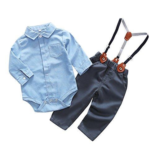 Blaward Baby Jungen Gentleman Onesies Straps Overalls Bodys Anzug Langarm Hemd + Bodysuit Hosen Kleider Sets