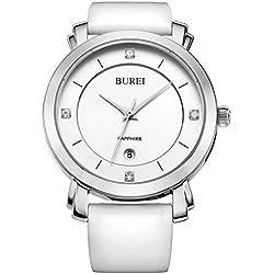 BUREI Women's Date Display Precise Quartz Watch Wristwatches with White Leather Strap