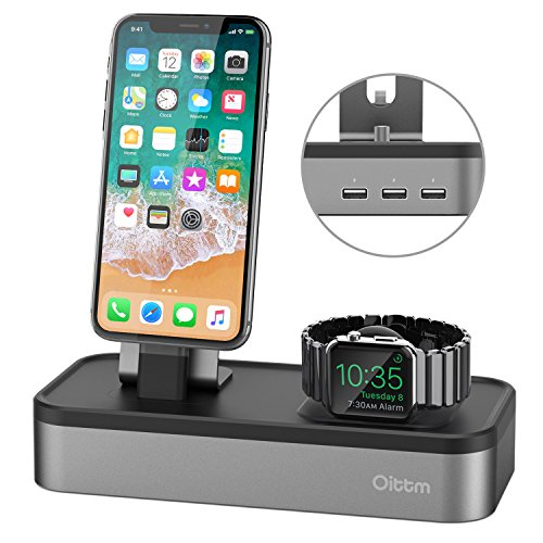 Oittm - Supporto ricarica USB (5 in 1) per iPhone, iPad Mini, Apple Pencil, iPod, Siri Remote, Apple Watch Serie 3
