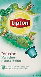Lipton Infusion Verveine Menthe Fraiche - 40 Capsules Compatibles avec le Système Nespresso (Lot de 4X10)