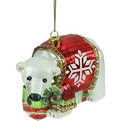 Sfera Natale, palline, vetro statuetta, vetro sfera, Natale, Natale, moderno orso polare con Pullover e regali, colore bianco e rosso, statuetta decorativa, da appendere