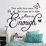 PeiTrade You Only Live Once Living Room Bedroom Wall Sticker Art Decal Home Room Decor Office Wall Mural Wallpaper Art Sticker Decal Paper Mural for Home Bedroom