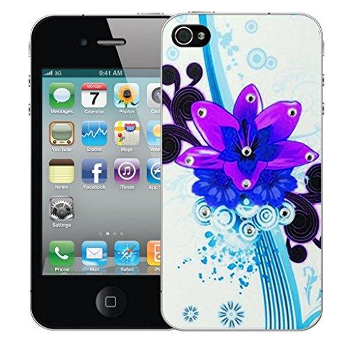 iphone 4 4s Dur Coque couverture Pare-chocs Case Cover - pourpre bouquet conception par Mobile Case Mate Violet
