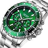 Megir Relojes Hombre Deportivos Grande Luminoso, Reloj cronógrafo de cuarzo analogico con correa en Acero Inoxidable Plata Esfera Verde para hombre, Impermeable