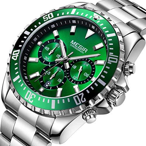 Herren Uhren Grün Männer Wasserdicht Luxus Silber Edelstahl Groß Armbanduhr Sport Business Mode Design Kleid Datum Kalender Analoge Quarz Schwer Uhr