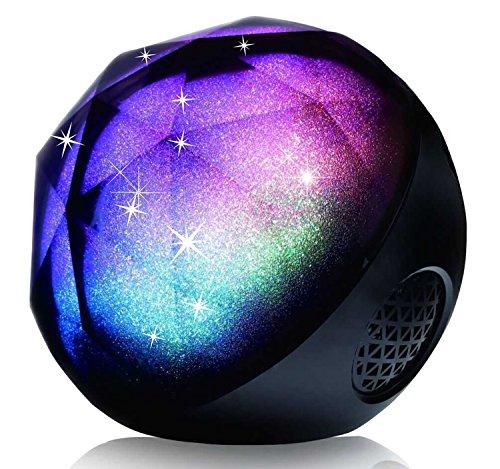 Veemoo Drahtloser Bluetooth Lautsprecher Tragbar Stereo Farbe Kugel LED Lautsprecher Unterstützung TF-Karte und Fernbedienung - Schwarz