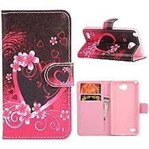 MOONCASE LG L Bello 2 Funda, Colorful Pattern Carcasa Cuero Pu Cartera Tapa para LG L Bello 2 / LG Max BBookstyle Choque Absorción Protección TPU Case con pata de Cabra -ST03