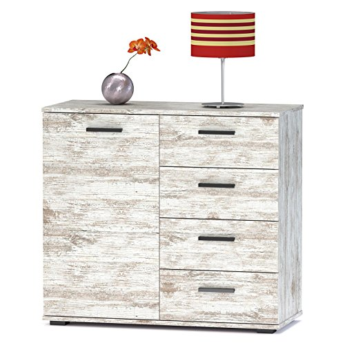 kommode sideboard schrank chicago shabby chic mit tr und 4 schubladen vintage look highboard. Black Bedroom Furniture Sets. Home Design Ideas