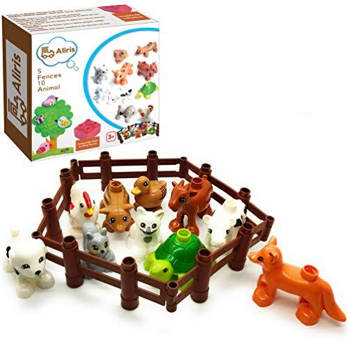 Aliris 10 Bauernhoftiere und 5 Zäune - Haustiere Tiere und Tierbabys auf dem Bauernhof für Kleinkinder - Kompatibel mit Führenden Marken Bausteinen