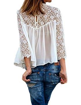 Camicia Donna Estate Elegante Blusa Bianco In Pizzo Chiffon Manica Lunga Sciolto Tulle Top Vintage Primavera T-Shirt...