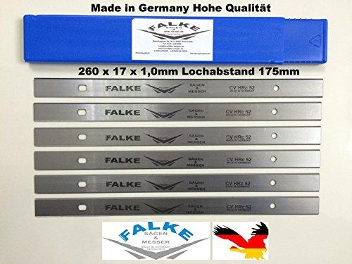 Preisvergleich Produktbild Hobelmesser Scheppach 6 Stück 260x17x1mm 175mm Lochabstand
