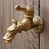 Antikas - Wasserhahn für Gartenbrunnen aus Messing mit Drachenkopf wie Antik