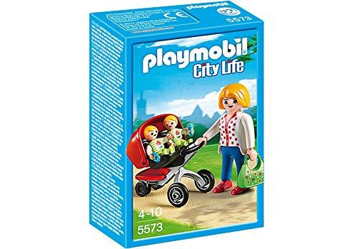 Preisvergleich Produktbild PLAYMOBIL City Life Mother with Twin Stroller 3Stück (S) Baufigur–Bau (mehrfarbig, Playmobil Figuren 4Jahr (S), 10Jahr (E), Mädchen, 3Stück (S))