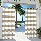 Exclusive Home Vorhänge eh8002–05 2–96 G Indoor/Outdoor Cabana Stripe Tülle Top Fenster Vorhang Panel, Taupe, 54 x Beton, Set von 2