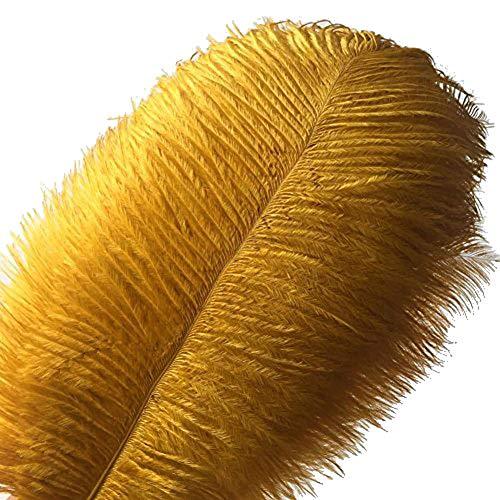 kolight Set von 10Stück 45,7cm ~ 50,8cm (45~ 50cm) natur Strauß Federn für Heimwerker Home Hochzeit Party Büro Dekoration gold (Feather Boa Gold)