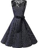 bbonlinedress 1950er Ärmellos Vintage Retro Spitzenkleid Rundhals Abendkleid Black White Dot S