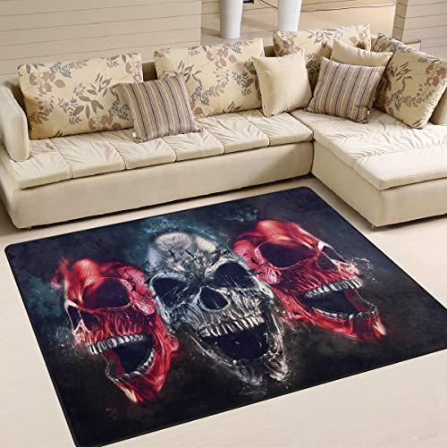 Use7 Abstrakter Sugar Skull Halloween Artwork Teppich Teppich Teppich für Wohnzimmer Schlafzimmer, Textil, Multi, 160cm x 122cm(5.3 x 4 ()