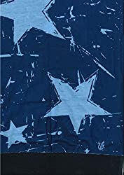 Multifunction Half Fleece Neckwarmer, Snood, Hat, Scarf and Hood with Blue Stars print by Monogram