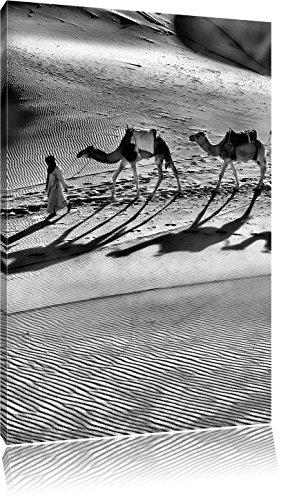 Monocrome, Kamelkarawane in der Wüste, Format: 120x80 auf Leinwand, XXL riesige Bilder fertig gerahmt mit Keilrahmen, Kunstdruck auf Wandbild mit Rahmen, günstiger als Gemälde oder Ölbild, kein Poster oder Plakat - Sonnenaufgang In Der Wüste Fertig