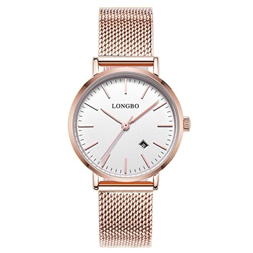 LONGBO einfache Uhren Edelstahl Band Analoganzeige Quarz Herrenuhr Ultra Thin Dial Business Armbanduhr Datum wasserdicht