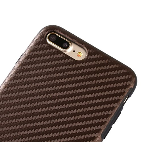 iPhone Case Cover Pour iPhone 7 Plus texture de fibre de carbone artistique Soft TPU étui de protection arrière ( Color : Dark Blue ) Coffee