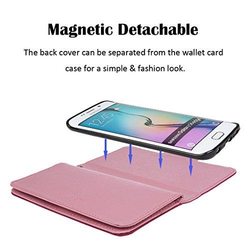 Hülle für Samsung S6 Edge, xhorizon FX Prämie Leder Folio Case [Brieftasche] [Magnetisch abnehmbar] Uhrarmband Geldbeutel Vogel Tasche Hülle für Samsung Galaxy S6 Edge mit einer Auto Einfassungs Halte Rosa