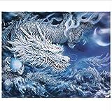 Yzrh Drache Tiere DIY Malen Nach Zahlen Acryl Leinwand Malerei Dekoration Einzigartiges Geschenk Moderne Wandkunst Bild Ohne Rahmen,40x50cm