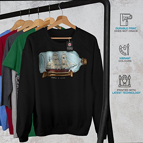 Faire UNE Souhait Navire Dans Bouteille Femme S-2XL Sweat-shirt   Wellcoda Noir