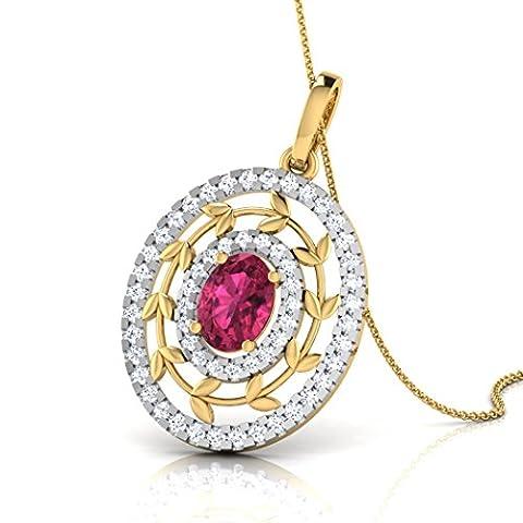 18K Or Blanc 0,46CT TW Round-cut-diamond (IJ | SI) et rubis Pendentif