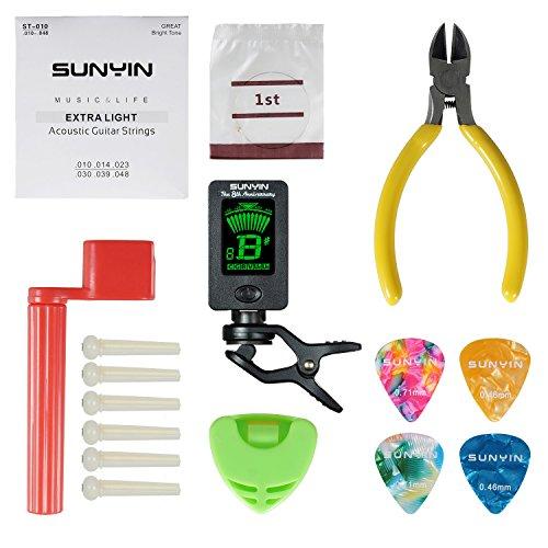 Werkzeug-Set für akustische Gitarre mit Gitarrensaiten, Saitenkurbel, Zange, Stimmgerät, Stegstecker & Plektrenhalter, alles, was man zum Wechseln der Saiten benötigt - Standard (Die Volle Werkzeug-set)