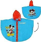 Unbekannt Regencape / Regenponcho -  Disney Mickey Mouse  - incl. Name - Gr. 98 - 104 - Circa 3 bis 4 Jahre - für Kinder - Mädchen & Jungen / für Schulranzen - Wasser..