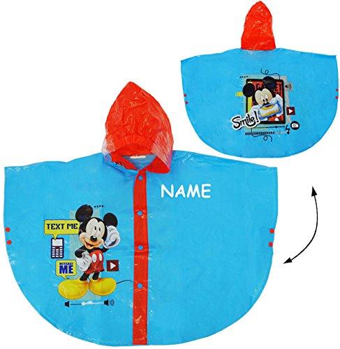 Preisvergleich Produktbild Unbekannt Regencape / Regenponcho -  Disney Mickey Mouse  - incl. Name - Gr. 110 - 116 - 122 - Circa 4 bis 6 Jahre - für Kinder - Mädchen & Jungen / für Schulranzen -..