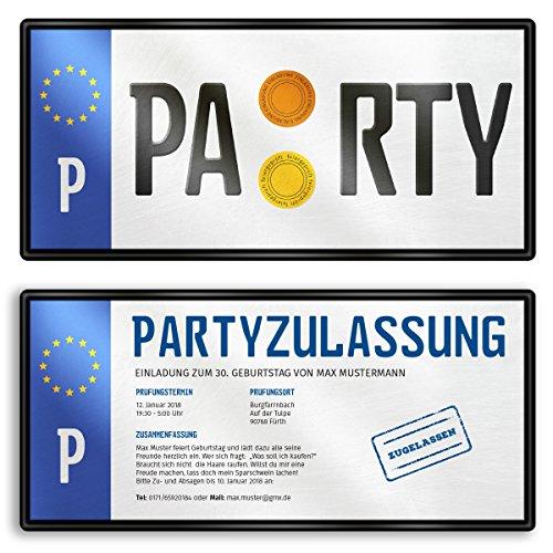 (60 x) Einladungskarten Geburtstag Nummernschild Auto Schild Plakette Einladungen