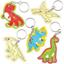 Llaveros de madera con dinosaurios que los niños pueden colorear, decorar y personalizar - Juego de manualidades creativas para niños (pack de 6).