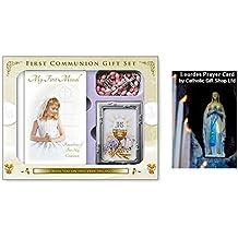 Catholic Gift Shop Ltd Marco de fotos para primera comunión con rosario rosa de cáliz y mi primer libro de misal – Set de regalo (C5184) y tarjeta de felicitación de cumpleaños